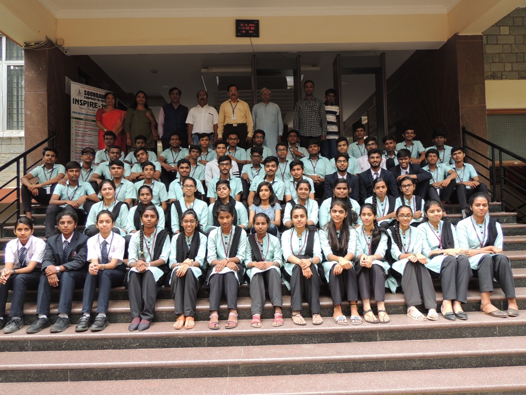 """Students of Soundarya Composite PU College who participated in """"Inspire-2020"""" Programme along with the organizers and resource persons."""